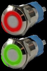 Кнопка металлическая антивандальная миниатюрная с подсветкой AR-SD16-BL12100.FR