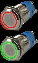 Кнопка металлическая антивандальная с подсветкой AR-SD16-DM16001.CR