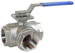 Кран шаровой трехходовой КПР-Т3 с ручным приводом